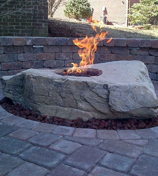 stone with fire pit set in hardscape