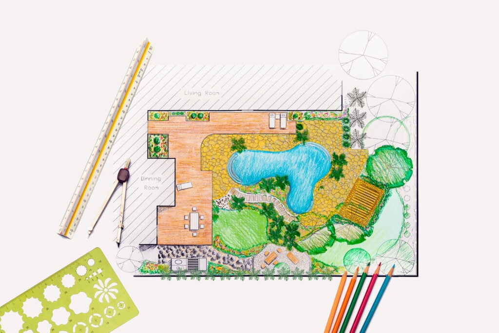 sketch of patio designs can be useful to landscape architects
