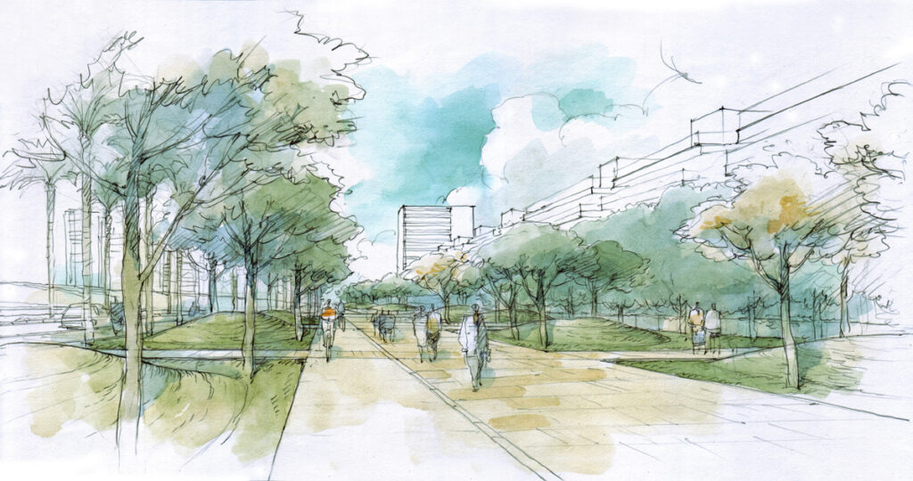 landscape architect rendering of walkway through park