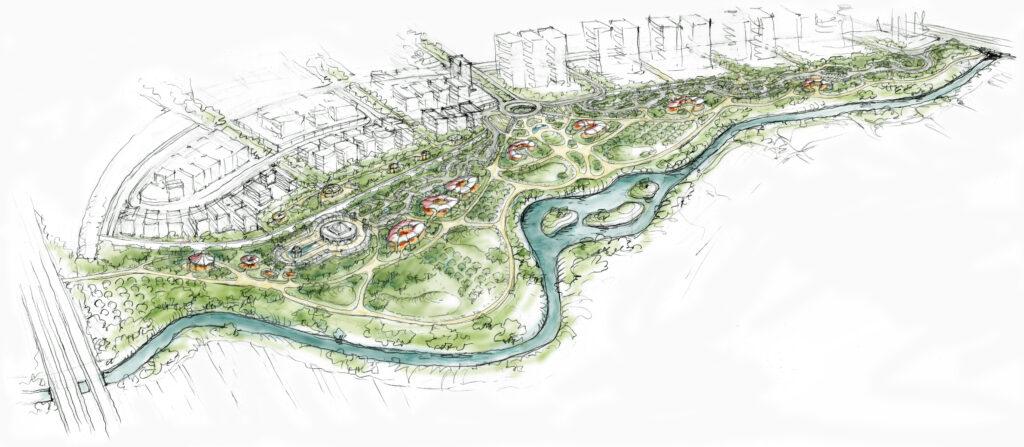 restoration project rendering by landscape architect