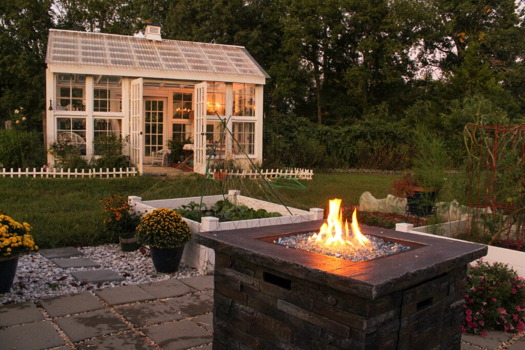 This patio includes a central fireplace to allow the user to enjoy their fall landscaping well into the colder nights.