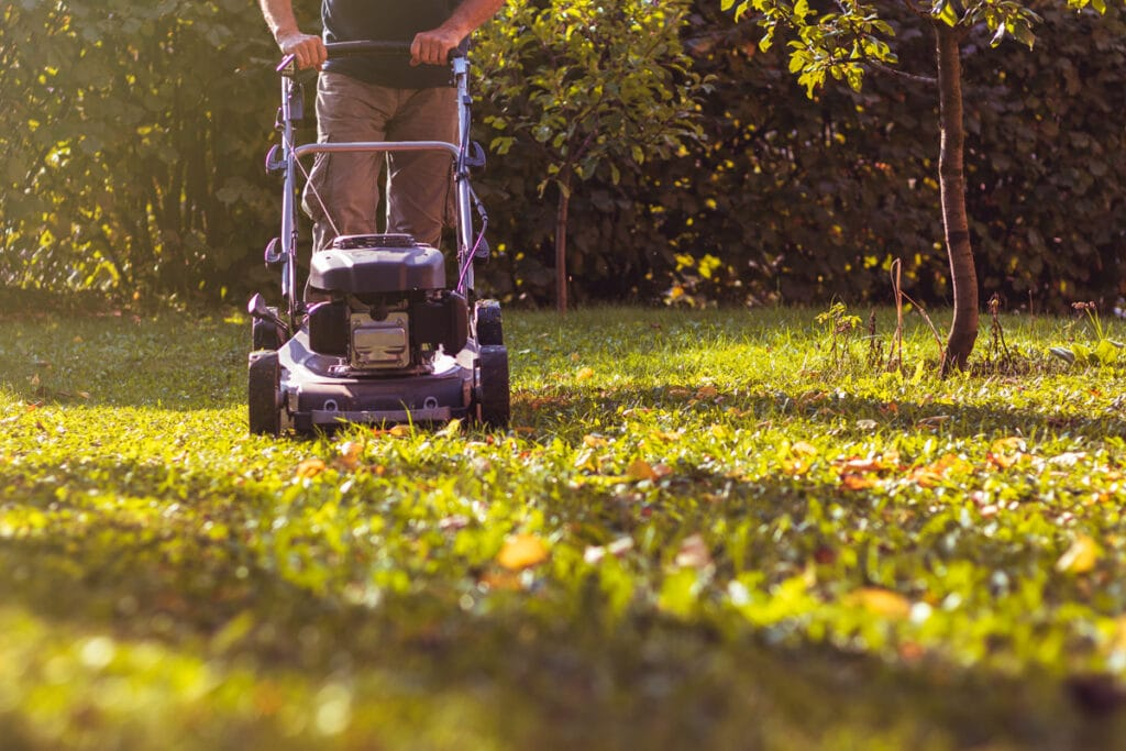 Fall Landscaping may include mulching leaves with a mower
